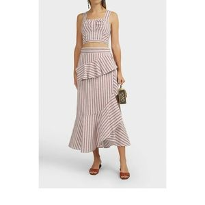 Derek Lam 10 Crosby Striped Ruffled Wrap Skirt